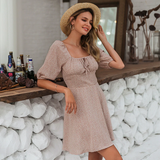 Classicly Cute Square Neck Chiffon Floral Print Summer Dress