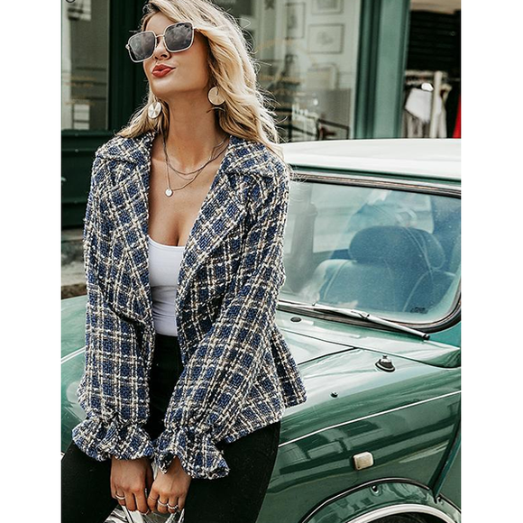 Simplee Elegant Ladies Blue Plaid Tweed Jacket