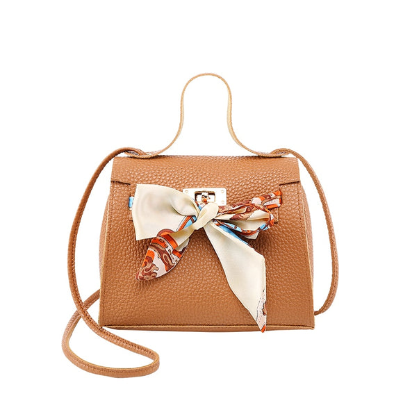 Cute Mini Crossbody Shoulder Bag with Fabric Bow Accent