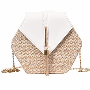 Straw Hexagon Tasseled Purse with Chain Link Crossbody Straps