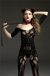 Black Erotic & Exotic Open Crotch Body Stocking Lingerie