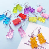 Colorful Resin-Crafted Gummy Bear Dangle Earrings