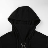 Black Cropped Hooded Pullover Sweatshirt with Double Chain Accent