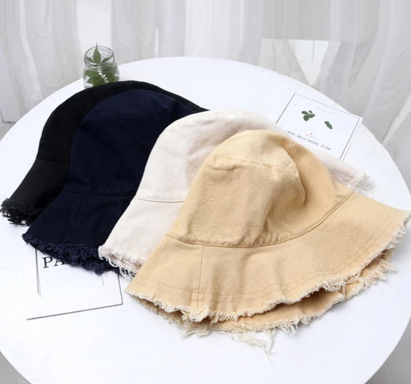 Fringe-Trimmed Sun Shading Bucket Hat in Various Colors