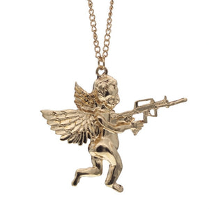 Angel Baby with Gun Long Pendant Necklace