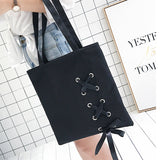 Women's Casual Lace-up Canvas Tote Bag