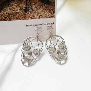 Hollow Out Skull & Stars Geometric Rhinestone Dangle Earrings - Pierced and Non-Pierced Options