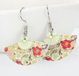 Traditional Japanese Style Folding Hand Fan Wood Dangle Earrings