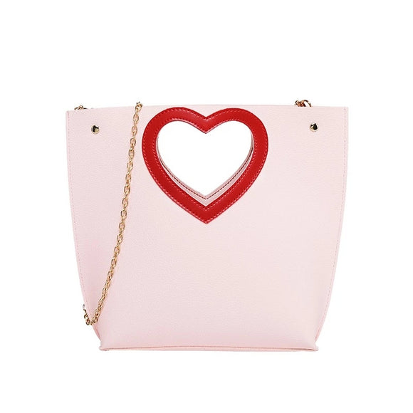 Cut Out Heart-Shaped Handle Purse w/ Chain Shoulder Strap