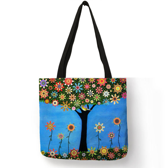 Double-Sided Flowers & Trees Graphic Print Linen Tote Bag