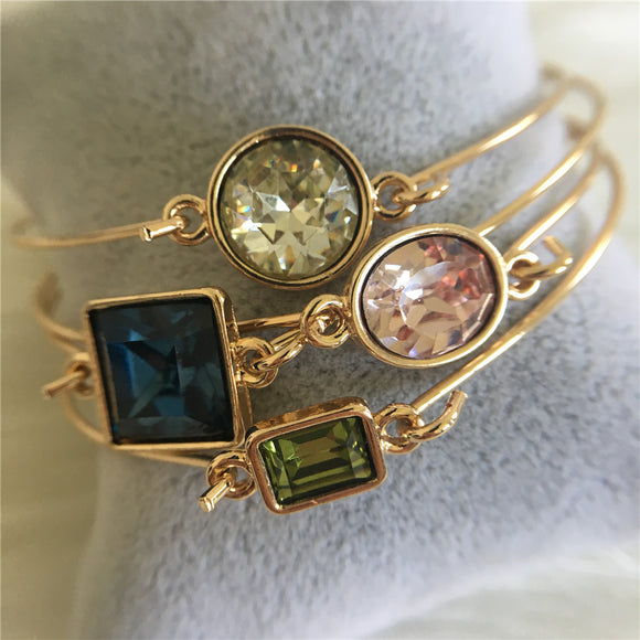 4-Piece Large Resin Jeweled Thin Bangle Bracelet Set