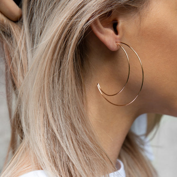 Boho Double Crescent Hoop Earrings
