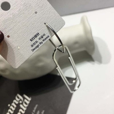 Over-sized Dangling Paper Clip Hoop Earrings