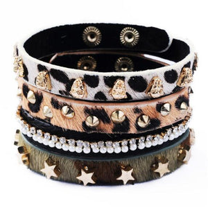 Riveting 4-Piece Leopard Print Leather Bracelet Set