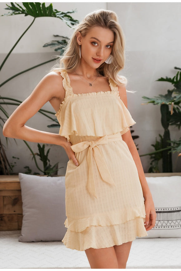 Flirty Ruffled Tank Cotton Mini Summer Sundress