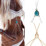 Sexy & Feminine Body Chain with Decorative Turquoise/White Stone