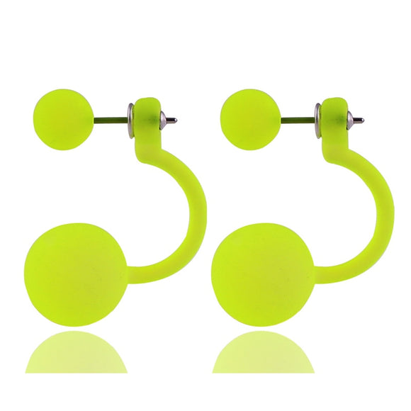 Fun Fluorescent Color Double Ball Drop Earrings