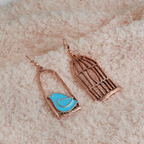 Bird and Bird Cage Vintage Style Enamel Dangle Earrings
