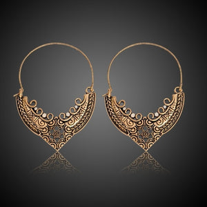 Carved Ethnic-Style Large Hoop Earrings