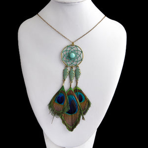 Dream Catcher & Imitation Peacock Feathers Long Tassel Necklace