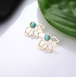 Lotus Petals Hollow Drop Earrings with Green Stone