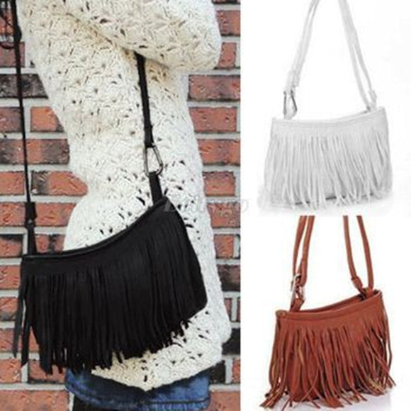 Tasseled Fringe Faux Suede Crossbody Purse