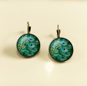 Vibrant Peacock Feathers Dome Drop Earrings