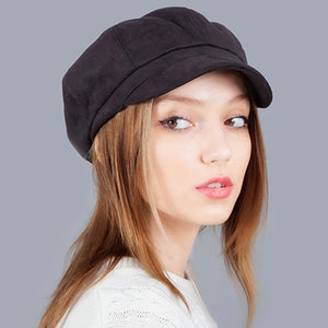 Sexy Suede Adjustable Size Newsboy Caps