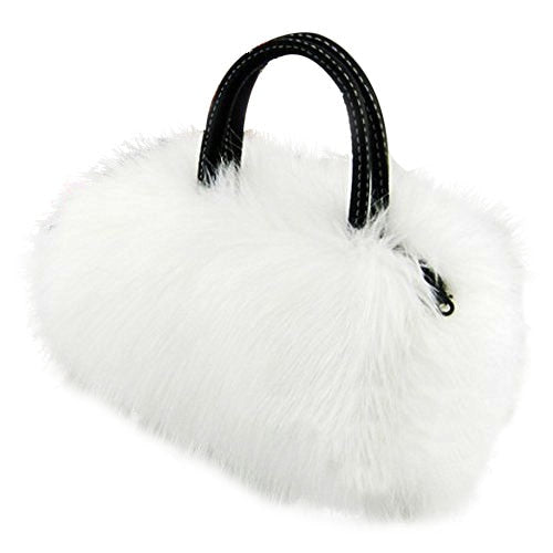 Plush White Faux Fur Top Handled Purse w/ Zipper Closure