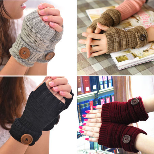 Knit Fingerless Gloves with Thumb Hole and Button Accent