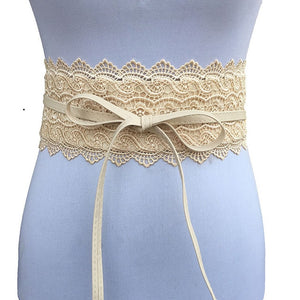Lovely Lace & Leather Wide Corset Belt