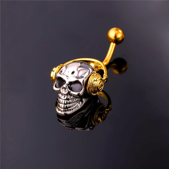 Retro Punk Skull Belly Button Ring for Navel Piercing