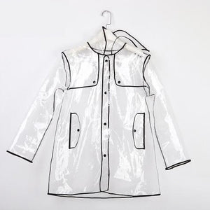Bad Girl Transparent Waterproof Raincoat with Hood and Colored Trim