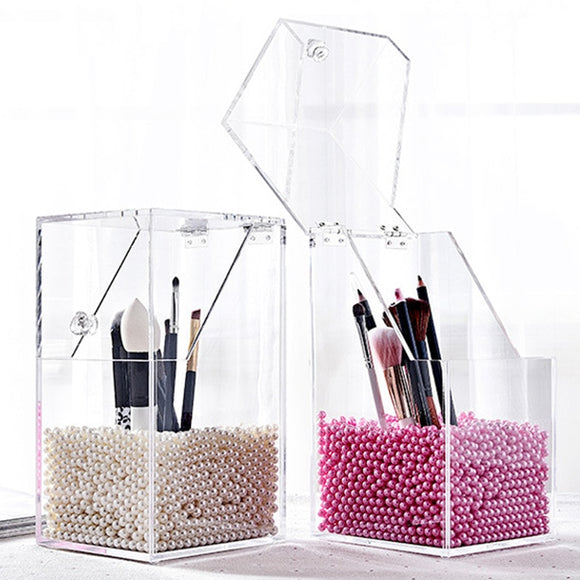 Dust-Proof Makeup Brush Holder - Plastic w/ Optional Decorative Filler Beads