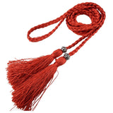 Woven Rope Belt with Beaded Tassel Ends