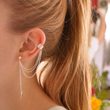 Leaf Ended Tassel Ear Cuff Earrings
