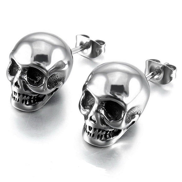 Straight Skull Stud Earrings