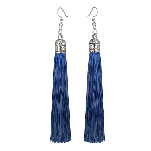 Dangling Silk Tassel Earrings