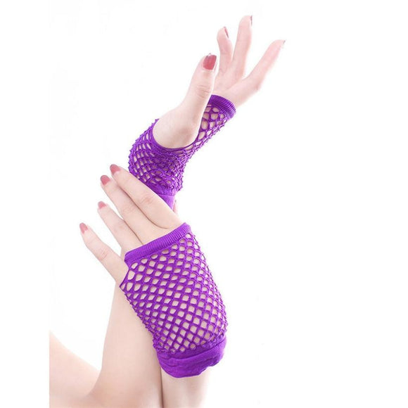 Punkalicious Short Fingerless Fishnet Gloves
