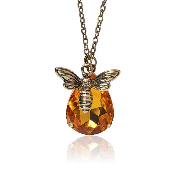 Honey Bee Crystal Pendant Necklace