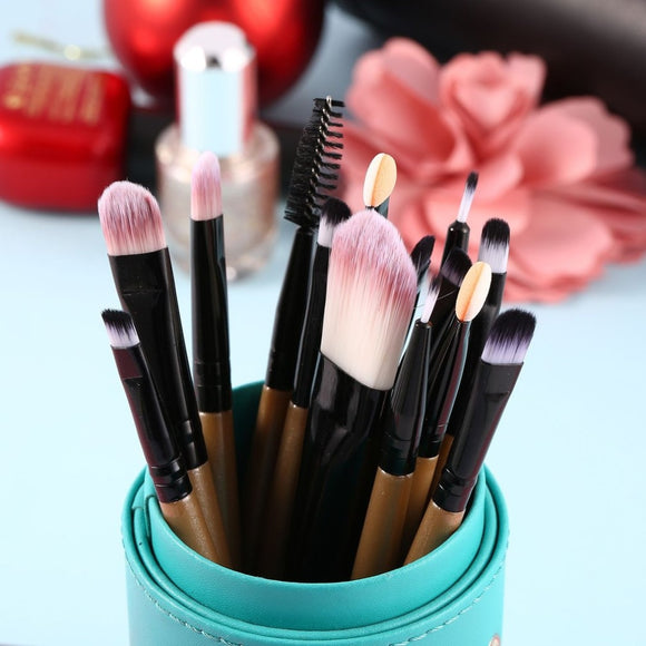 15-Piece Makeup Brush Set - Synthetic, Cruelty-Free Bristles