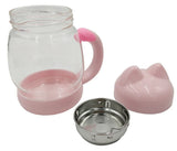 Kitty Cat Glass Mug with Filter for Coffee and Tea, 14oz