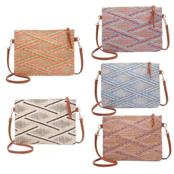 Multi-Color Woven Cotton Shoulder Bag