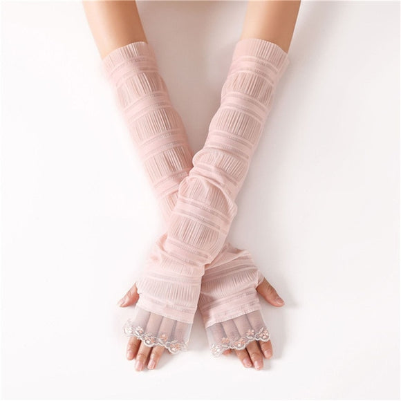 Lovely & Long Lace Trimmed Fingerless Gloves