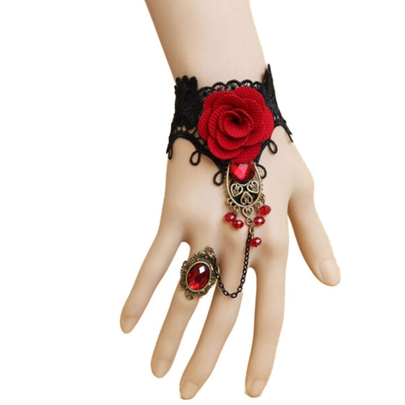 Red Vintage Lace & Metal Bracelet Ring with Rose