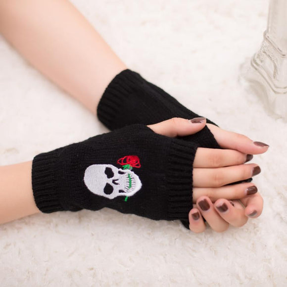 Bad to the Bone Skull Print Knit Fingerless Gloves, 16 color choices
