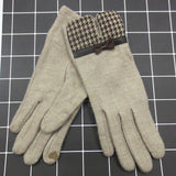 Wool Touch Screen Warm Winter Gloves, Full Finger with Dotted Embroidery