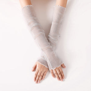 Long Soft Metallic Mesh Fingerless Gloves Convertible Sleeves