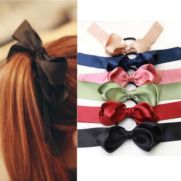 Satin Bow Ponytail Holder