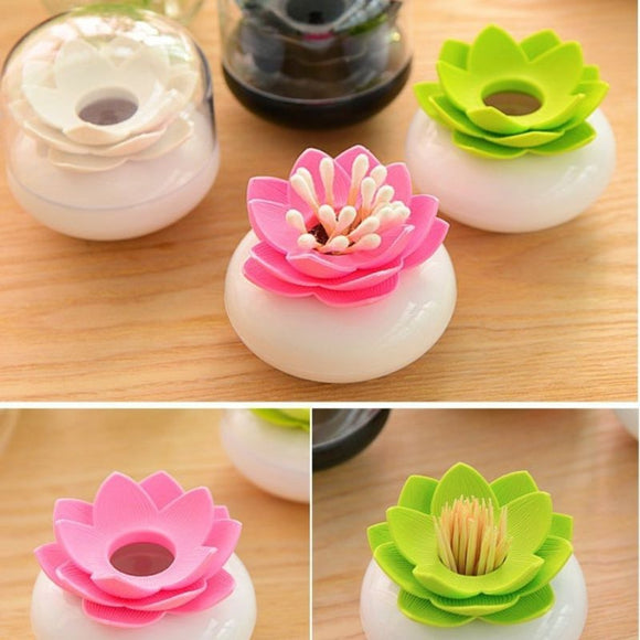 Lotus Flower Stick Cosmetic Organizer for Cotton Swabs, Toothpicks, Bobby Pins